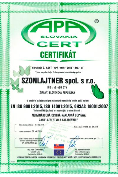 szonlajtner-certifikat-iso-medzinarodna cestna a nakladna doprava, zasielatelstvo a skladovanie