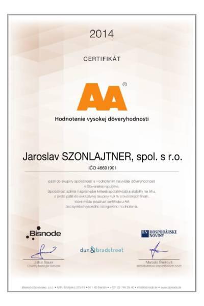 Certifikat_AA_SK_Jaroslav-SZONLAJTNER-hodnotenie vysokej doveryhodnosti